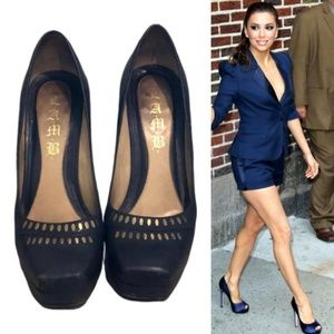 NAVY BLUE WITH GOLD ACCENT PUMPS
